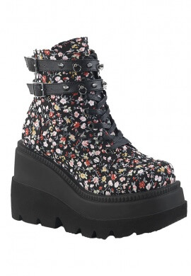 Demonia Floral Print Shaker-52 Boots