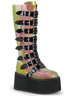 Demonia Pink Shifting Glitter Damned-318 Boots