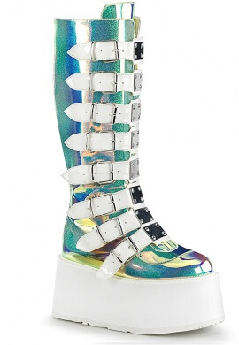 Demonia Holographic Shifting Glitter Damned-318 Boots