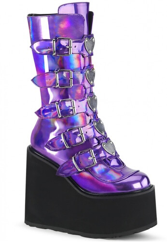 91865322be9 Demonia Purple Holographic Swing-230 Boots