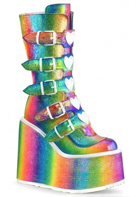 Demonia Rainbow Holographic Swing-230 Boots