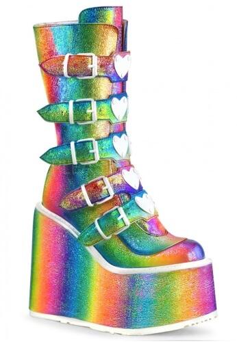 Demonia Rainbow Holographic Swing-230 Boots