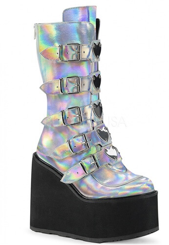 Demonia Silver Holographic Swing-230 Boots