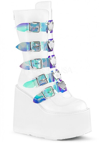 Demonia White and Holographic Swing-230 Boots