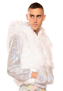 Holographic Light Up Jacket with White LEDs