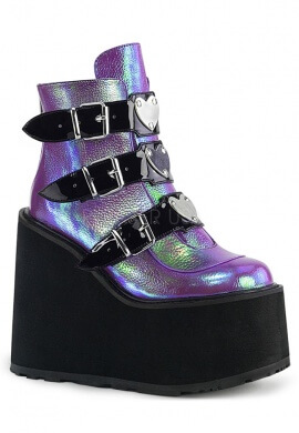 Demonia Purple Iridescent Swing-105 Ankle Boots