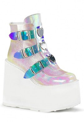 Demonia Pearl Iridescent Swing-105 Ankle Boots
