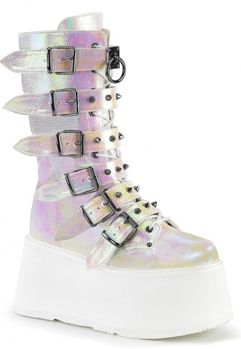 Damned-225 Pearl Iridescent Boots