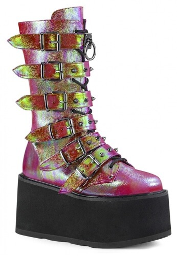 Damned-225 Pink and Green Iridescent Boots