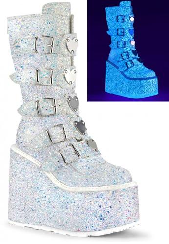 White Glitter Swing-230G Boots
