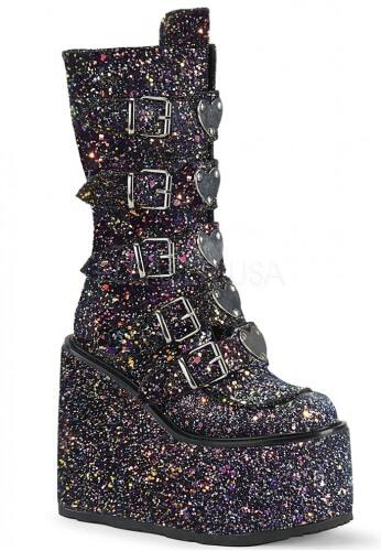 Black Glitter Swing-230G Boots