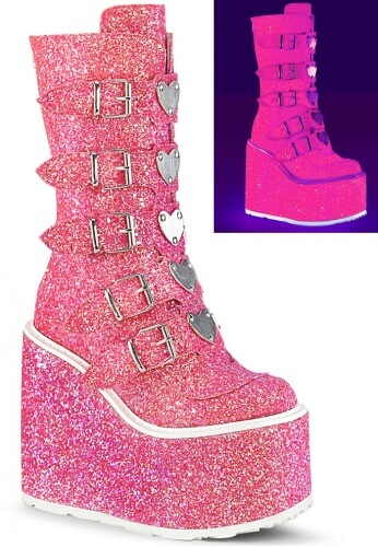 UV Reactive Pink Glitter Swing-230G Boots