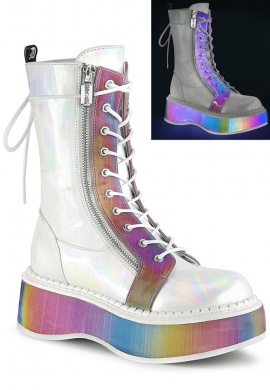 White and Rainbow Holographic Boots