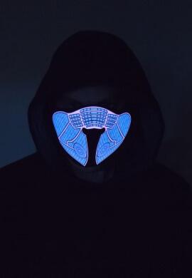 Blue Geometric Light Up Mask