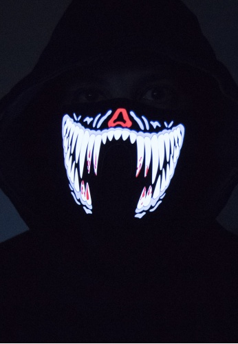 White and Blue Fangs LED Mask