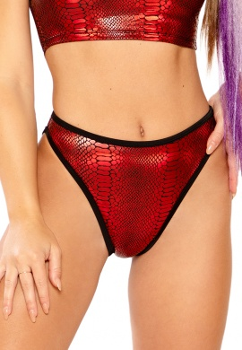 Metallic Red Cobra High Waist Shorts