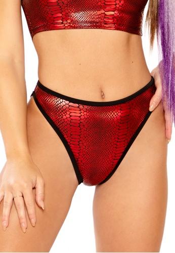 Metallic Red Cobra High Waist Shorts