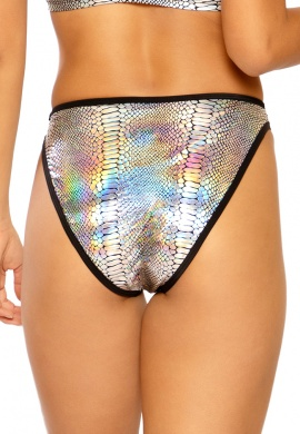 Metallic Silver Cobra High Waist Shorts