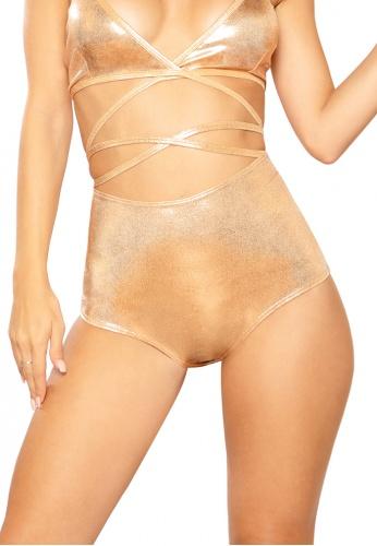 Rose Gold Shimmer High-Waist Shorts