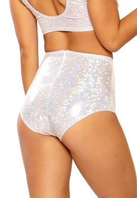 Holographic Silver High Waist Shorts