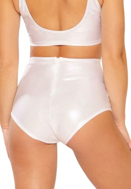 White Holo Python High Waist Shorts