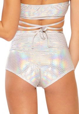 Holographic Silver Pyramid High Waist Shorts