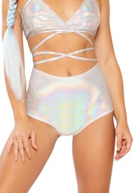 Holographic Silver Pyramid High Waist Shorts