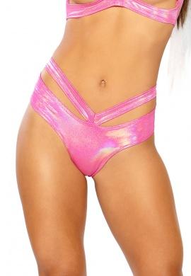 Holographic Pink Spectrum Strap Shorts