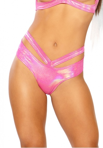 Holographic Pink Spectrum Strap Shorts