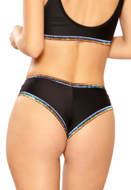 Black and Rainbow Glitter Elastic Short