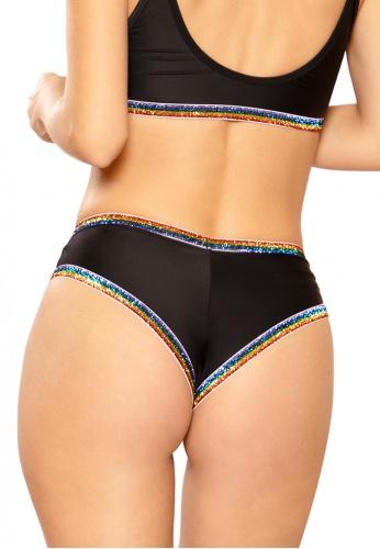 Black and Rainbow Glitter Elastic Short