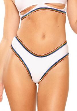 White and Rainbow Glitter Elastic Shorts