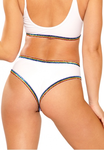 White and Rainbow Glitter Elastic Shorts
