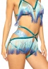 Blue Ombre Fringe & Glitter Elastic Harness Bottom