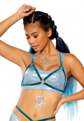 Blue Fade Glitter Elastic Harness