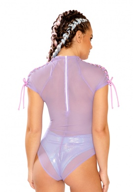 Lavender Mesh Silver Eyelet Lace-Up Shoulder Bodysuit