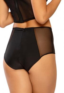 Black Mesh Lace-up High Waist Shorts