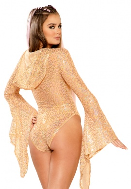 Rose Gold Sequin Hooded Gypsy Bodysuit