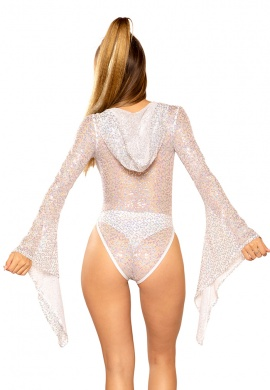 White Silver Sequin Hooded Gypsy Bodysuit