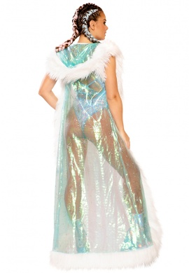 Aqua and White Faux Fur Trimmed Snowflake Duster