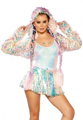Cosmic Ice Light-Up Sequin Hooded Shrug