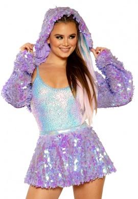Lavender Dreams Light-Up Sequin Hooded Shrug