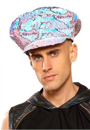 Blue Fire Sequin Captain Hat
