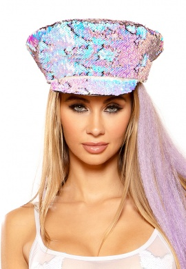 Blue Fire Sequin Captain Hat