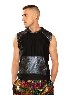 Black Cobra Hooded Sleeveless Shirt