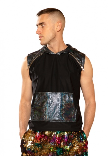 Black Cobra Hooded Sleeveless Shirt