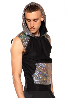 Broken Mirror Hooded Sleeveless Shirt