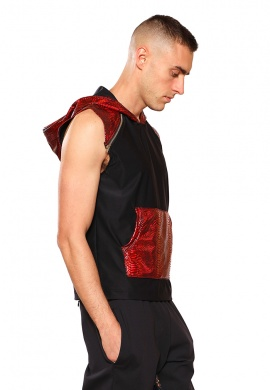 Red Cobra Hooded Sleeveless Shirt