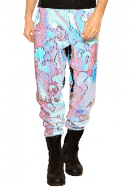 Blue Fire Sequin Joggers