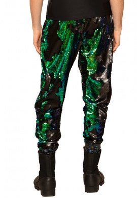 Matte Black and Blue-Green Sequin Joggers